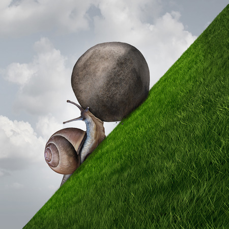 willpower: Perseverance symbol and sisyphus symbol as a determined snail pushing a boulder up a grass mountain as a metaphor persistence and determination to succeed.