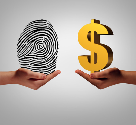 Personal data brokering business concept and buying and selling personal information as a hand holding a finger print and another person with a dollar symbol as a metaphor for a security identification access.