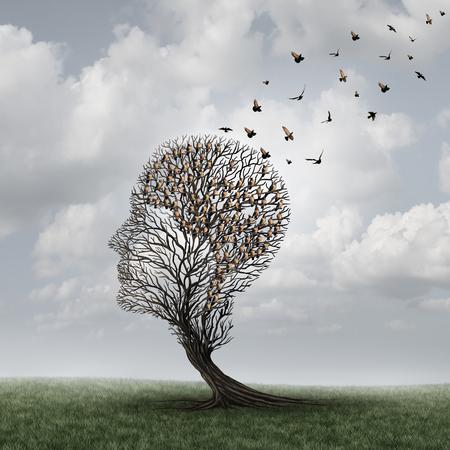 Geheugenverlies concept en de ziekte van Alzheimer patiënt surrealistisch symbool als een geneeskundige geestelijke gezondheidszorg concept met een leeg hoofd vormige boom en een groep vogels in de vorm van een brein voor neurologie en dementie of intelligentie te verliezen. Stockfoto