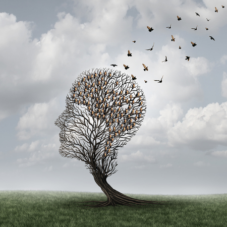 degenerative: Memory loss concept and Alzheimer patient surreal symbol as a medical mental health care concept with an empty head shaped  tree and a group of birds shaped as a brain for neurology and dementia or losing intelligence. Stock Photo