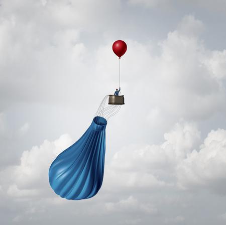 Emergency businessplan en crisismanagement strategie metafoor als een zakenman in een gebroken leeggelopen luchtballon door een enkele kleine rode partij ballon wordt opgeslagen als een innovatief antwoord oplossing idee. Stockfoto