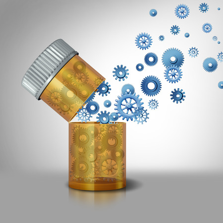 generic drugs: Pharmaceutical industry concept and precription drugs business symbol as an open pill bottle with gears and cog wheels flowing out as a metaphor for medication and medicine inner workings. Stock Photo
