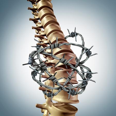 Lage rugpijn en vaatziekten en de menselijke wervelkolom rugpijn met een driedimensionaal wervelkolom lichaam skelet met de wervel en de wervel columnwrapped in prikkeldraad of weerhaakdraad als medisch zorg concept voor de gezamenlijke stress.