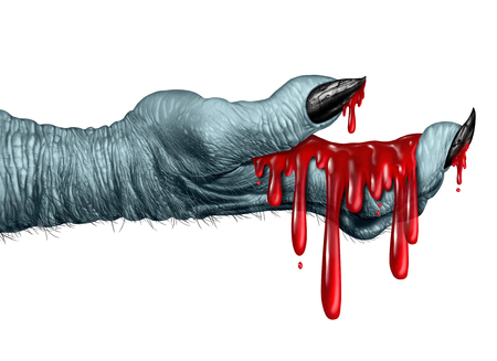 monster movie: Zombie bloody hand monster holding liquid  blood dripping down on a side view as a creepy halloween or scary symbol with textured skin monster fingers isolated on a white background.