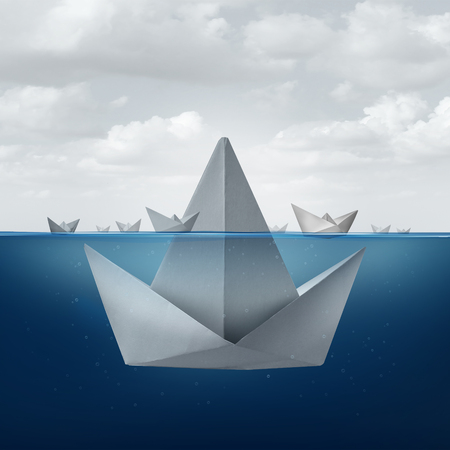 Business ignorance and fear concept as a group of paper boats floating around the tip of a giant origami sail boat looking as an ice berg shape as a metaphor for hidden competition and corporate deception.