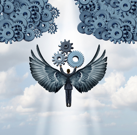 Business angel investor concept and entrepreneur venture capitalist symbol as a businessman with wings flying upward with gears to help build a corporation icon made of machine cog wheels.