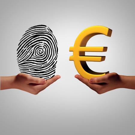 datos personales: Europa mercado de la información y los datos personales de intermediación concepto de negocio de compra y venta de información europeo como una mano que sostiene una huella digital y otra persona con el símbolo del euro en una metáfora de un acceso de identificación de seguridad.