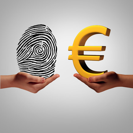europe: Europe information market and personal data brokering business concept buying and selling european information as a hand holding a finger print and another person with a euro symbol as a metaphor for a security identification access. Stock Photo