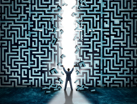 Entrance business solution concept as a businessman opening a maze or labyrinth creating a doorway with glowing light as a metaphor for opportunity and solving a problem.