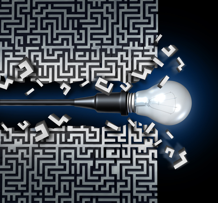 koncepció: Innovatív ötlet megoldási koncepció és az új gondolkodásmód az üzleti szimbólum, mint a villanykörte áttörve egy labirintus, vagy labirintus mint egy ikon az innováció és a találmány.