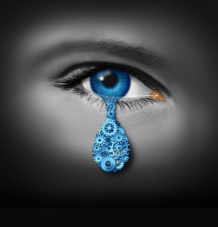 human eye: Depression industry and mental health business concept as a human eye crying a single tear drop made of gears and cog wheels as a symbol for psychiatry profession or antidepressant pharmaceutical research. Stock Photo