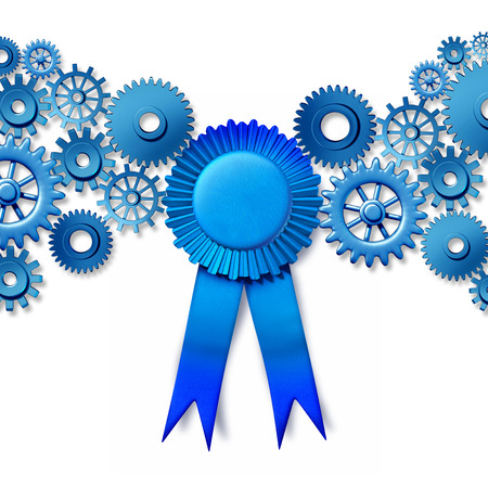 best quality: Business award concept as a blue ribbon reward turning connected gears and cog wheels as an industry honor for working leadership and the best efficiency technology.