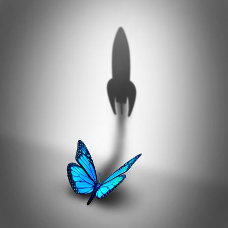 전원 열망 비즈니스 개념 및 성공 잠재적 인 메타포로 떨어져 발파 로켓 모양의 그림자를 캐스팅하는 파란색 나비로 결정 동기 부여 기호. 스톡 콘텐츠