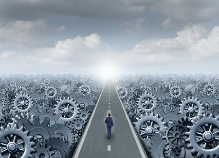 exito: Concepto de carreteras oportunidad de negocios y empresario de éxito símbolo como un hombre de negocios caminando por un camino recto con engranaje de la máquina y piezas de la máquina de cremallera como un éxito metáfora producción de la industria.