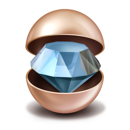 valuable: Investing secrets concept as an open precious pearl with a sparkling diamond inside as a business investing metaphor and financial shelter symbol for hidden private funds.