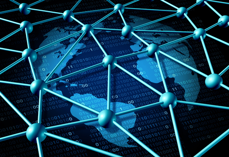 Global data network as an internet business concept with a worldwide technology symbol on binary code as an icon for connected software networking.