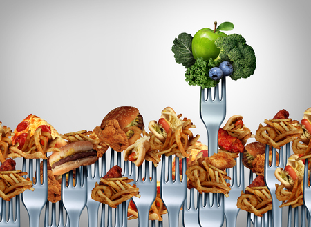 good or bad: Fruit and vegetable choice concept and nutrition choices symbol as a group of dinner fork icons with junk food with one individual utensil with green healthy produce as a metaphor for courage to live a fit lifestyle.