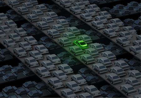wasserstoff: Alternative Auto Lösung Transportkonzept als eine Gruppe von Stadtstraßen und Autobahnen mit fossilen Brennstoffen Automobilen und einem einzelnen grünen futuristischen Auto als Symbol für ein Elektroauto oder erneuerbare Energien Fahrzeug. Lizenzfreie Bilder