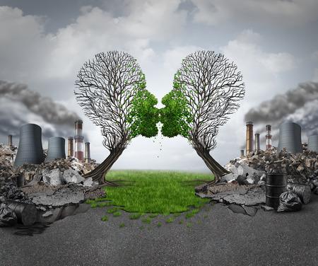 klima: Klima Erholung und ökologische Erneuerung, wie zwei leere Bäume als menschliche Köpfe küssen und die Wiederbelebung neues grünes Wachstum aus einem verschmutzten industriellen Hintergrund als Hoffnung Metapher für Umwelt Motivation geprägt.