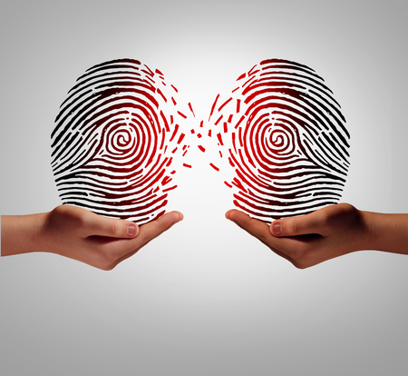 Customer data transfer and sharing private client information with another person or company as a social security exchange concept and identity protection.