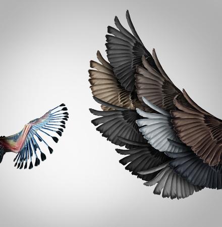 早期教育支援と指導コンセプト トレーニング、若い学生のためのメタファーをコーチングや飛ぶことを学ぶのチームとして多様な鳥から大人の翼の