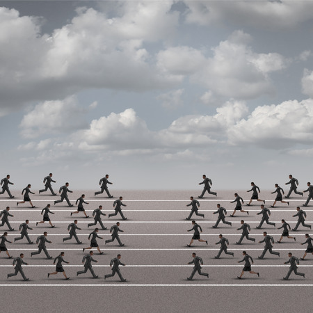 joining forces: Joining forces business concept or company group confrontation as businesswomen and businessmen running towards each other as a metaphor for unity or corporate conflict.