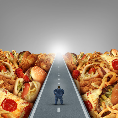 Fat lifestyle escape and dieting solutions and overweight diet advice concept as an obese man walking on a road between a heap of greasy junk food as a metaphor for unhealthy food risk.