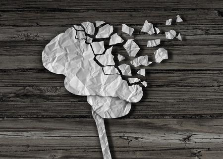 건강: 알츠하이머 병에 대한 창조적 인 개념으로 조각으로 찢어 구겨진 종이로 만든 생각 인간의 장기와 정신 건강 및 신경과 의료 상징으로 치매 나 뇌 손상 및 부상.