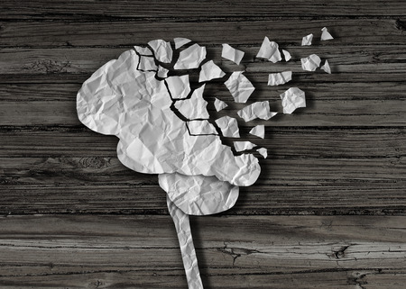 alzheimer: Dementia or brain damage and injury as a mental health and neurology medical symbol with a thinking human organ made of crumpled paper torn in pieces as a creative concept for alzheimer disease.