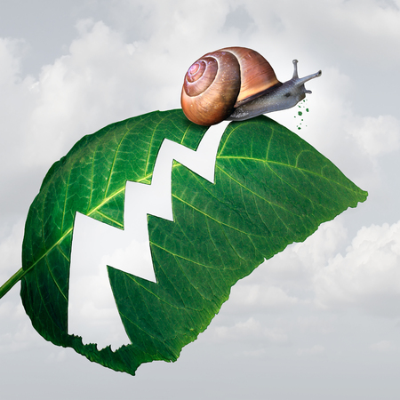 caracol: Slow concepto de negocio crecimiento de los beneficios como un caracol crear una forma como un gráfico de flecha financiera en una hoja por el consumo de la planta como una metáfora de la desaceleración económica agujero.