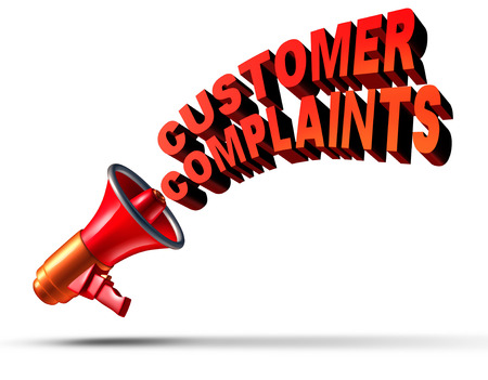 Customer complaints business symbol as a megaphone or bullhorn announcing and communicating a complaint opinion of dissatisfaction for bad client services or poor quality service as text on a white background. Stock Photo