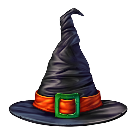 kapelusze: Czarownica kapelusz samodzielnie na białym tle jako upiorny mistycznego wymiarowej czarna głowa odzieży dla czarownika lub czarodziejki halloween graficznego elementu magicznego charakteru sezonowego.