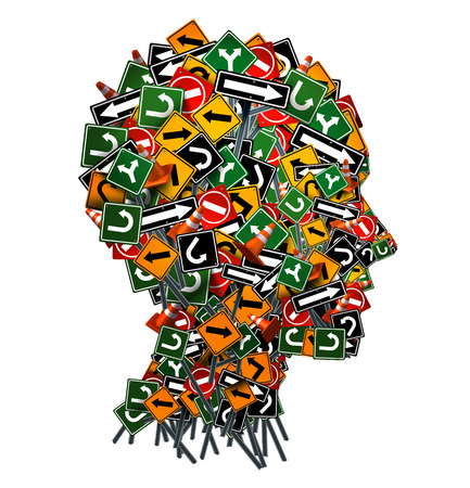 Confused thinking and uncertainty symbol as a group of traffic or road arrow signs shaped as a human head as a decision making crisis  or being lost in confusion concept on a white background. Banque d'images
