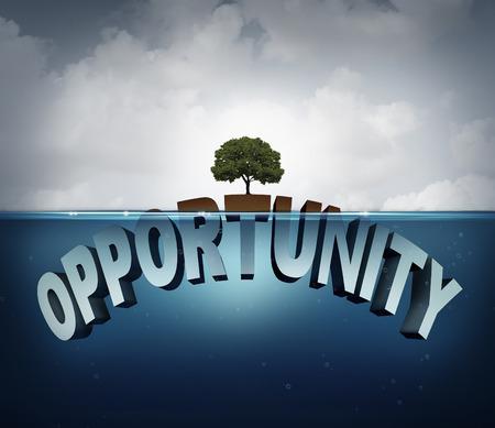Unknown concetto di opportunità come tre dimensionale testo nascosto sott'acqua con un albero sano virale che cresce su un piccolo pezzo sopra l'acqua come metafora per il successo e la motivazione per la ricerca di opportunità nascoste nel mondo degli affari e nella vita.
