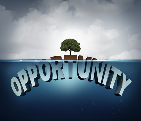 advantages: Unknown opportunity concept as three dimensional text hidden underwater with a viral healthy tree growing on a small  piece above water as a metaphor for success and motivation to search for hidden opportunities in business and life.