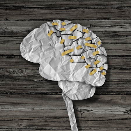 cognitive: Brain rehabilitation and mental health therapy concept as a crumpled broken paper shaped as the human thinking organ repaired together with tape as a neurology medical treatment symbol.