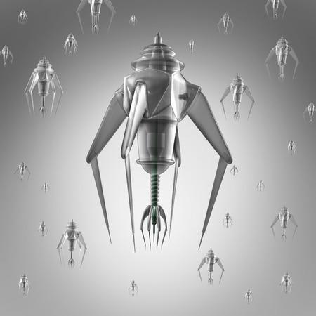 treating: Nanomedicine and nano medication or miniature medical technology as nanotechnology medicine concept with a group of microscopic nano robots or nanobots programed to kill human illness. Stock Photo