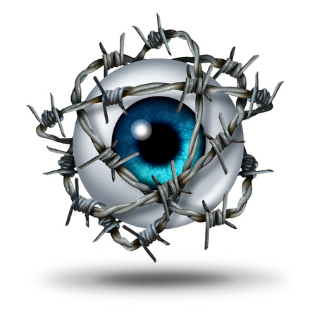 Eye pain medical concept as a human vision organ wrapped with sharp metal barb or barbed wire as a symbol for glaucoma or restricted visual access and witness protection icon on white. Banque d'images