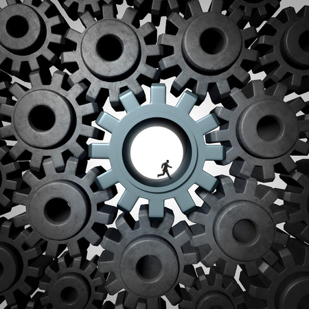Businessman gear run concept as giant gears or cog wheels inside a network of machine parts being moved by a small person as a financial concept for economic engine or overworked essential employee productivity.