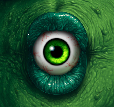 creepy monster: Monster eye halloween ogre demon closeup with evil green lips biting into a disgusting eyeball as a nightmare zombie or scary witch concept. Stock Photo