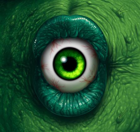 demon: Ojo del monstruo de Halloween ogro demonio del primer con malos labios verdes que pican en un globo ocular repugnante como un zombi pesadilla o concepto bruja asustadiza.