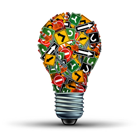 creativity symbol: Creative guidance concept and Ideas direction as a business symbol with a group of highway and road signs in the shape of a light bulb as a creativity stress metaphor for an inspiration guide.