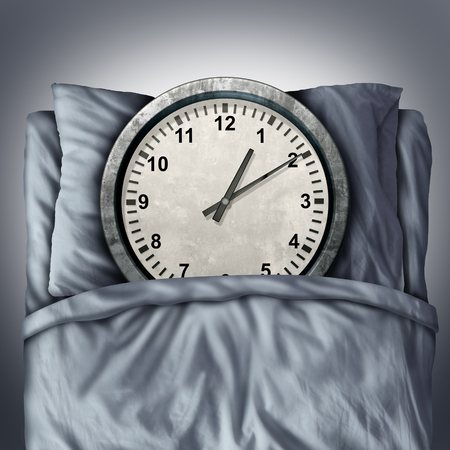 time off: Getting enough sleep concept or sleeping trouble symbol as a clock lying in bed on a pillow as a metaphor for resting and needed relaxation for a healthy mind and body or appointment  schedule stress.