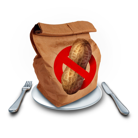allergic ingredients: School lunch allergy concept as a brown bag with a peanut free icon as a food health risk and department of education menu policy as an allergic student safety issue.