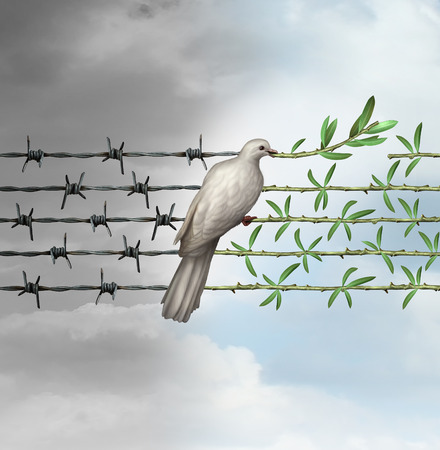 Hope concept as a dove perched on barbed wire transforming into an olive branch as a symbol for good will towards man and a respect for humanity and the globe as a new year or holiday greeting with a wish and dream of a safer world. 스톡 콘텐츠