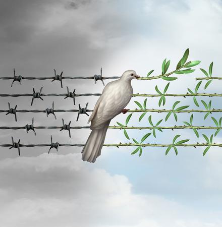 wojenne: Mam nadzieję, że pojęcie jak gołąb siedzący na drucie kolczastym przekształcenie gałązką oliwną jako symbol dobrej woli wobec człowieka i szacunku dla ludzkości i świata jako nowy rok lub życzenia świąteczne z pragnieniem i marzeniem o bezpieczniejszego świata. Zdjęcie Seryjne