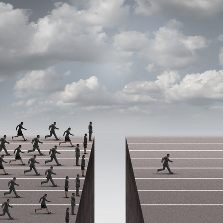 Solution leadership business concept as a group of business people running but blocked by a deep hole obstacle and one individual businessman solving the problem and proceeds to win over the competition as a success metaphor. Foto de archivo