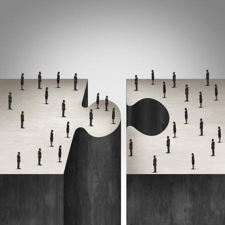 Geschäftsleute Zusammenarbeit Konzept wie ein Puzzle mit zwei Gruppen von Geschäftsleuten zusammen kommen als Corporate Symbol für Gruppenvertrag ein Projekt zu erstellen.
