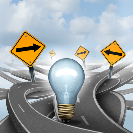 off path: Strategic Ideas concept as a business symbol with a lightbulb or light bulb choosing the right strategic path for a new creative way with yellow traffic signs arrows and tangled roads and highways in a confused direction. Stock Photo