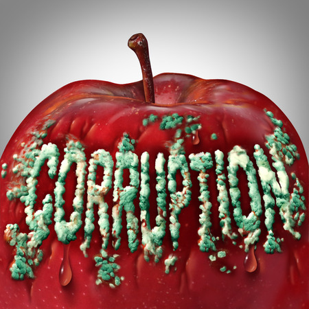 criminal act: Corruption symbol and rotten to the core concept as mold or fungus shaped as text on an apple representing the criminal act of bribery and fraud as a legal metaphor for dishonest immoral behavior. Stock Photo